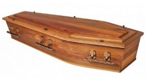 recycled native timber casket raised lid with gold handles