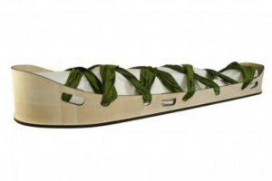 ply wood shroud bearer with green silk ribbon