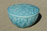 aqua ash urn with pattern