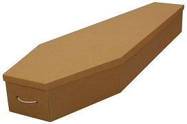 cardboard casket with rope handles on the end
