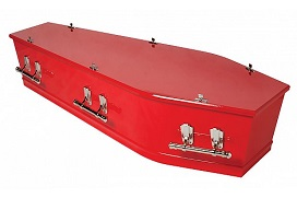 richmond painted red casket with silver drop bar handles