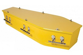 richmond casket painted yellow with silver drop bar handles